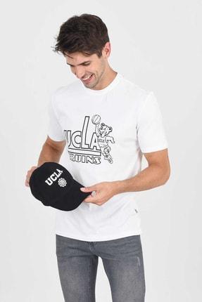UCLA PINOLE Beyaz Bisiklet Yaka Baskılı Erkek Tshirt