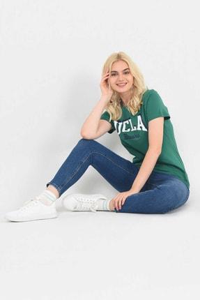 UCLA MATEO Yeşil Bisiklet Yaka Baskılı Kadın Tshirt