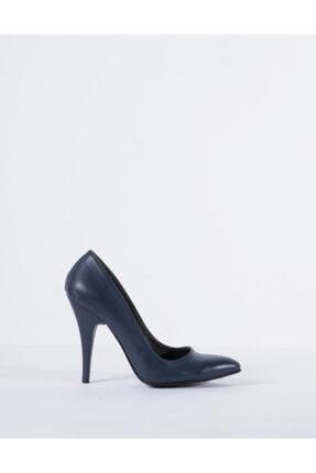 Vision Kadın Lacivert Hakiki Deri Topuklu Ayakkabı