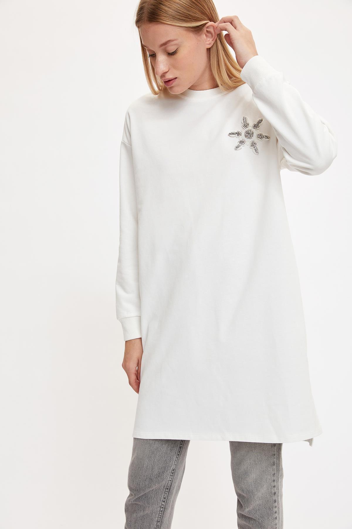 DeFacto Kadın Ecru Baskılı Tunik Sweatshirt S9177AZ20AU