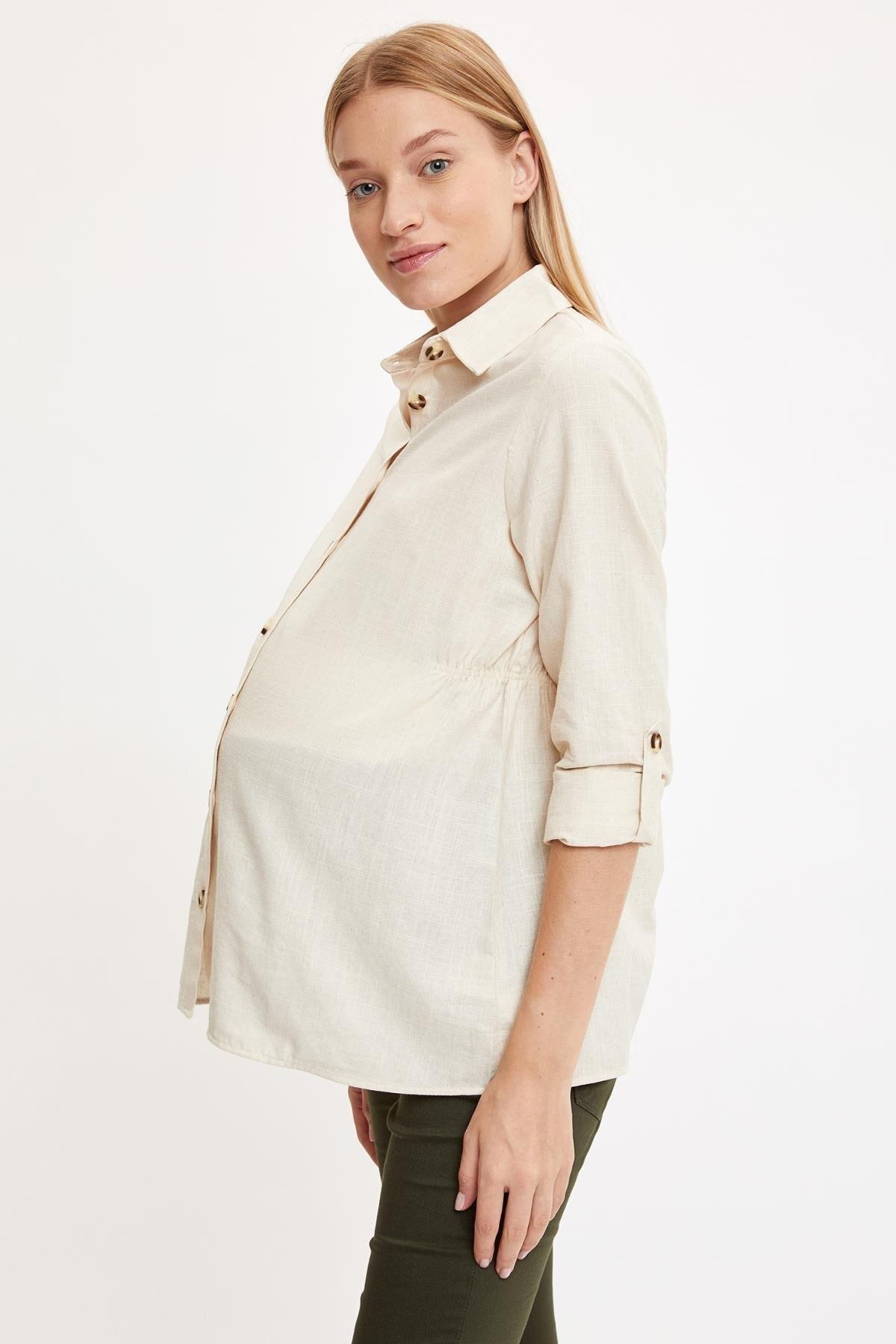 DeFacto Kadın Ecru Maternity Beli Büzgülü Hamile Gömlek S2385AZ20AU