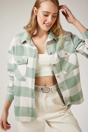 Happiness İst. Kadın Nil Yeşili Kareli Yünlü Ceket Gömlek DD00744