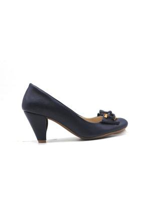 MEGA Kadın Lacivert Deri Topuklu Ayakkabı