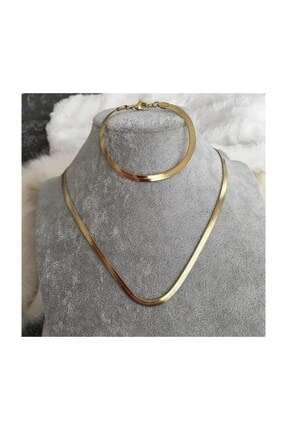 X-Lady Accessories Kadın Altın Kaplama İtalyan Ezme Zincir Kolye Bileklik Takı Seti Zincir Boyu 60 cm