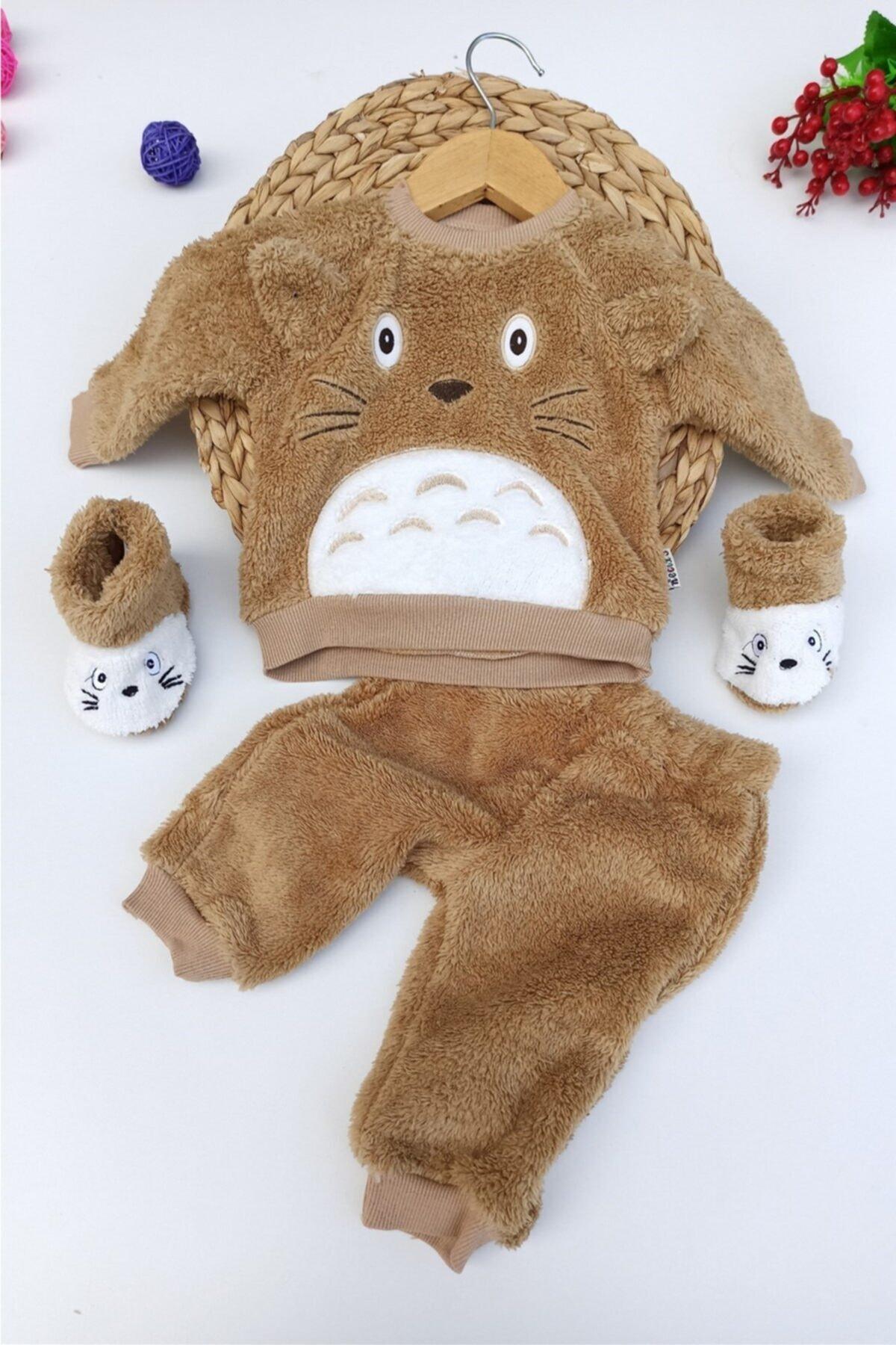 ALİSS Unisex Bebek Kahverengi Ayı Desenli Kışlık Welsoft Panduflu Lüx Takım 6-9-12 Ay 1