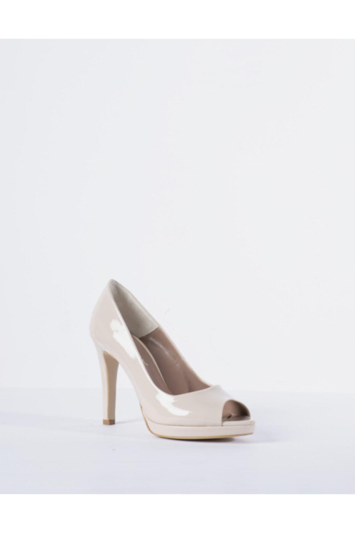 Vision Kadın Krem Rugan Burnu Açık Topuklu Ayakkabı 2