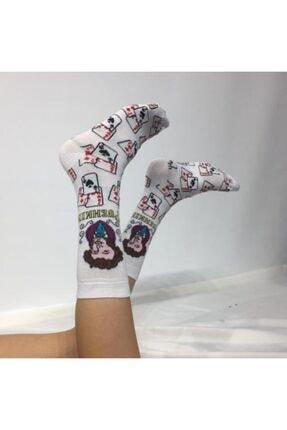 ADEL ÇORAP Unisex Beyaz Desenli Soket Çorap