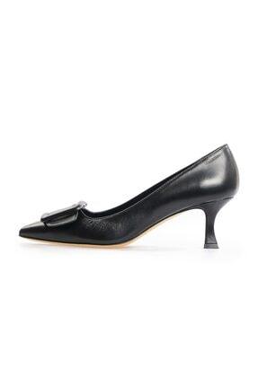 Flower Kadın Siyah Metis Kemer Tokalı Stiletto Ayakkabı