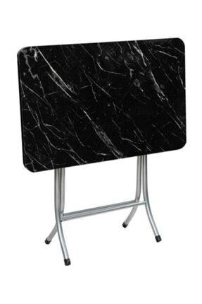 arslan Katlanır Kırma Siyah Mermer 70x120 Katlanabilir Masa