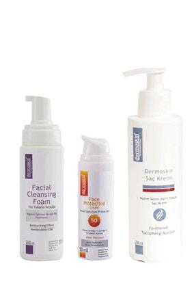 Dermoskin Yüz Yıkama Köpüğü + Face Protection SPF 50 2'li Avantaj Paket + Saç Kremi Hediye