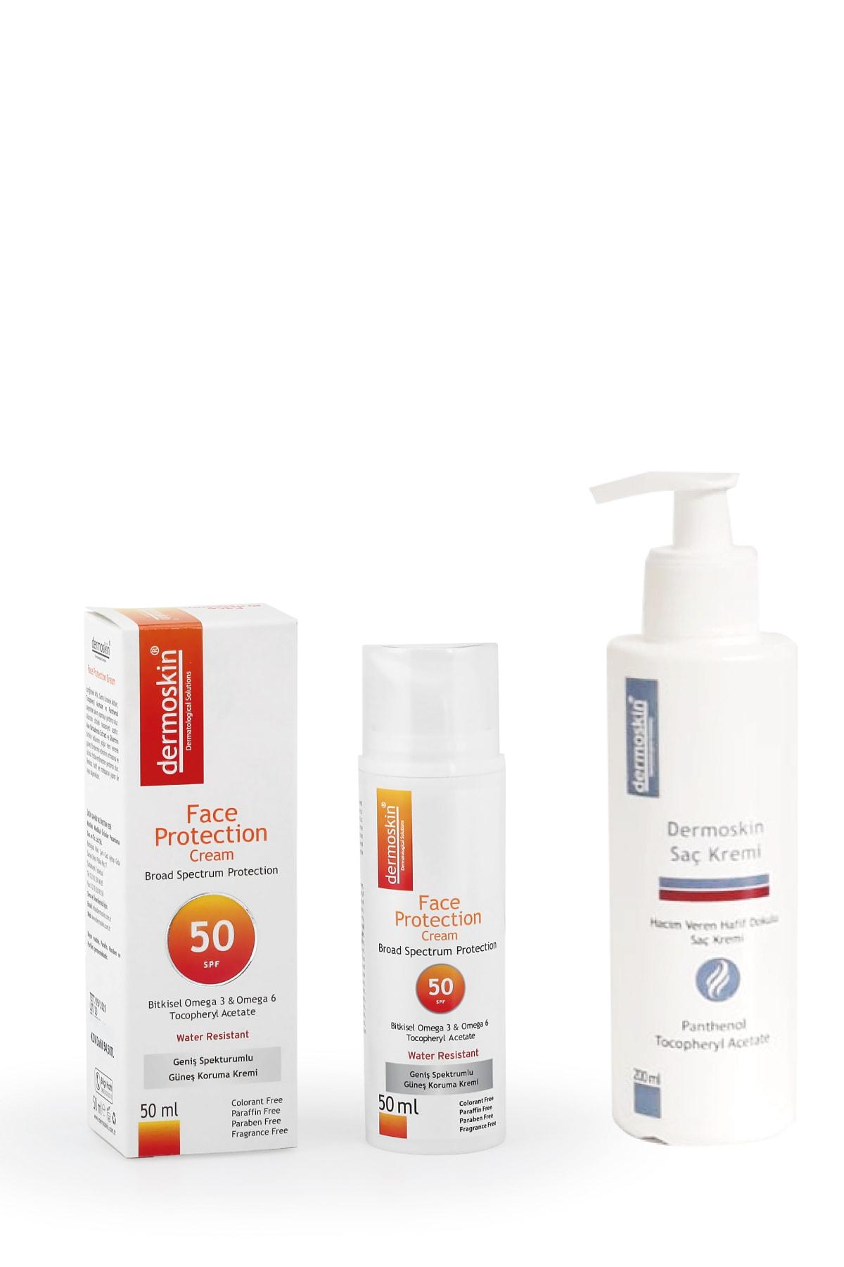 Dermoskin Face Protection Güneş Koruyucu Spf 50 + Saç Kremi Hediyeli Avantaj Paket 200 Ml 1