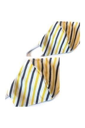 Aisha & Joe Unisex Sarı Lacıvert Cızgılı 2'lı Set Nano  Yıkanabilir Maske