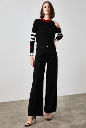 TRENDYOLMİLLA Siyah Yüksek Bel Wide Leg Jeans TWOAW21JE0553