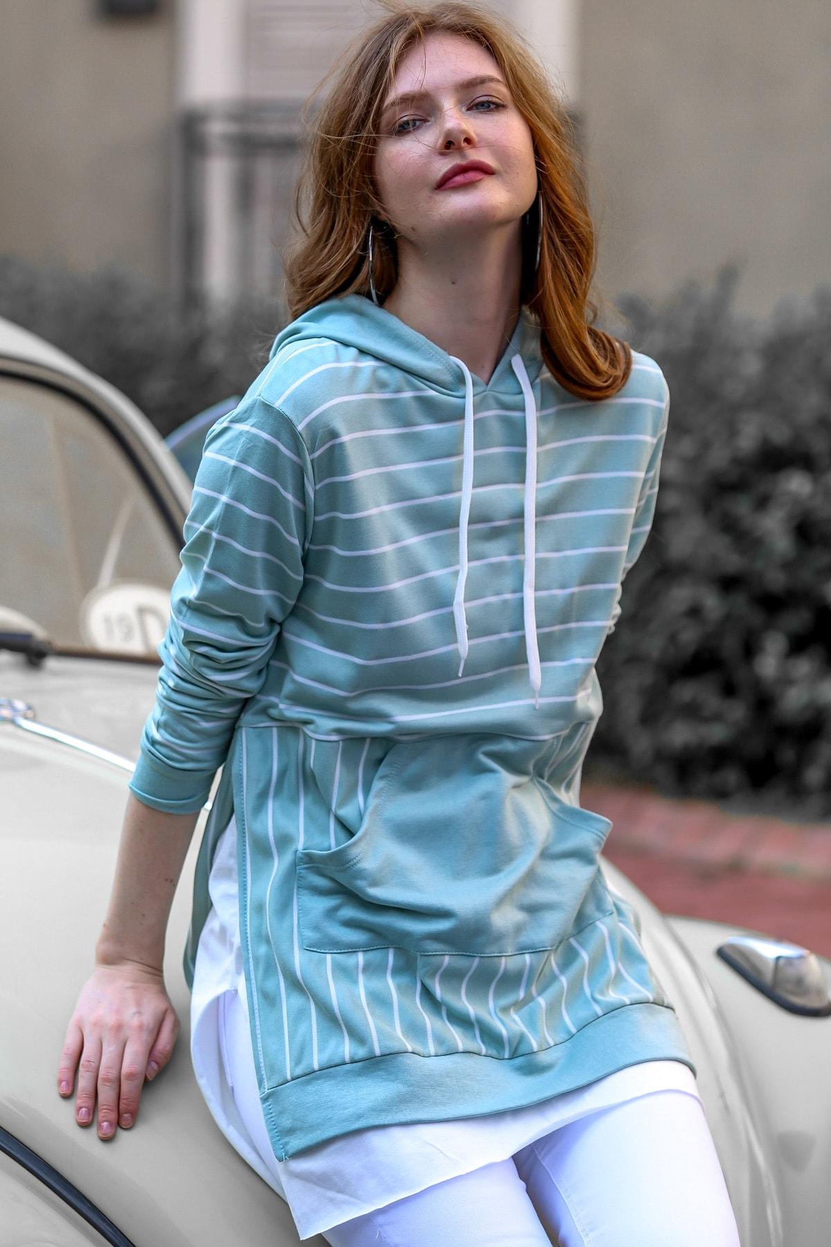 Chiccy Kadın Mint Vintage Çizgili Etek Ucu 2 Parça Yırtmaçlı Kanguru Cepli Sweat M10010700SW99336