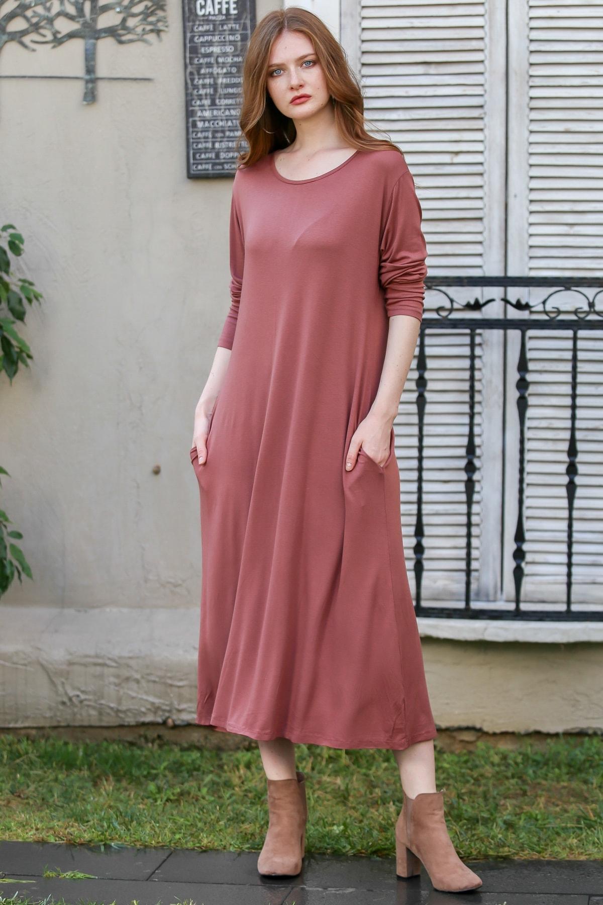 Chiccy Kadın Gül Kurusu Vintage Gizli Cepli Salaş Elbise M10160000EL97767