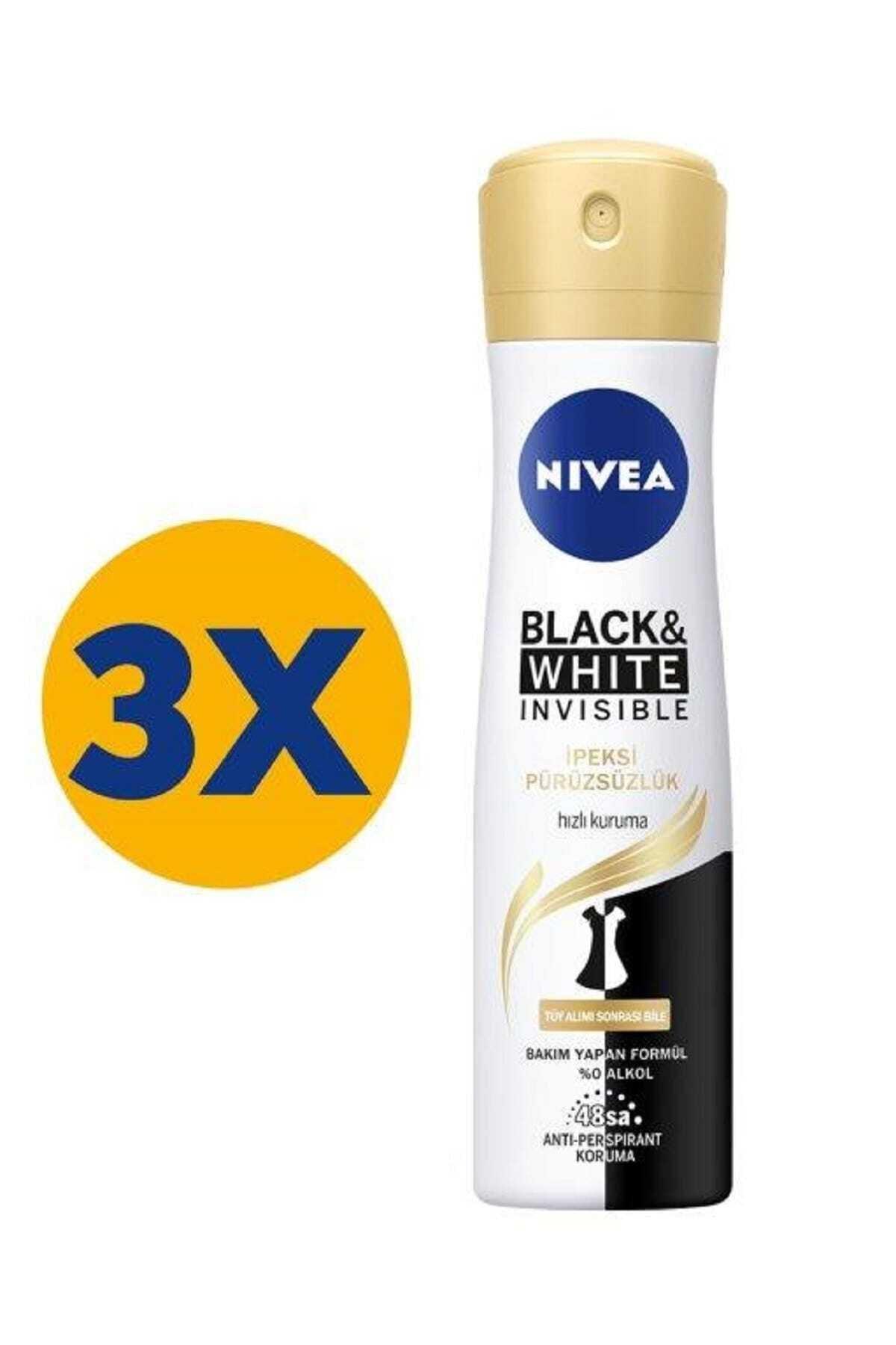Nivea Black & White Ipeksi Pürüzsüzlük Sprey 150 Ml X 3 1