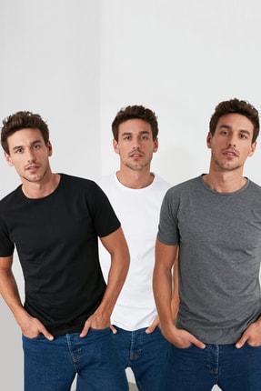 TRENDYOL MAN Çok Renkli Erkek Basic Slim Fit T-Shirt - 3'lü Çok Renkli Paket TMNSS19BO0007