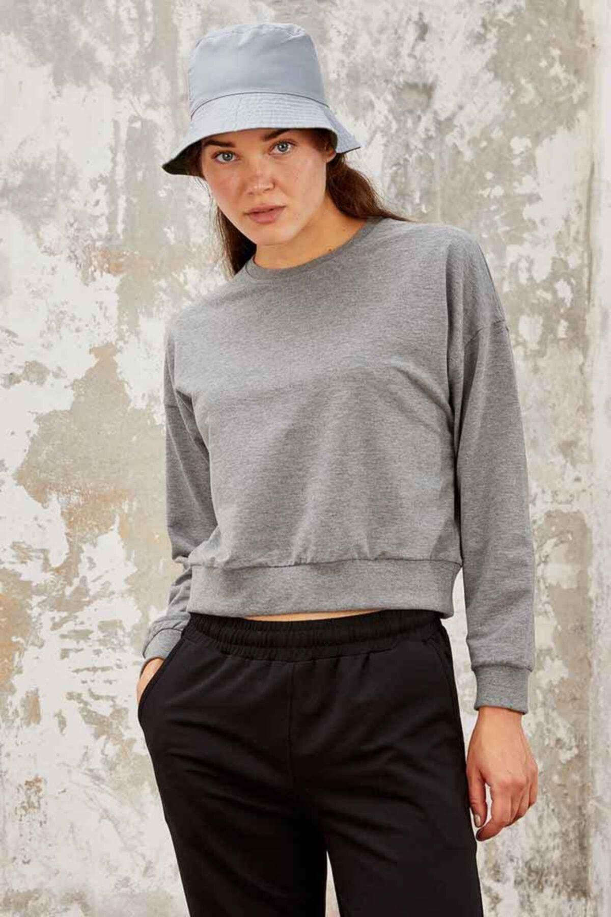 Tommy Life Kadın Gri Melanj Kadın Sweatshirt 1