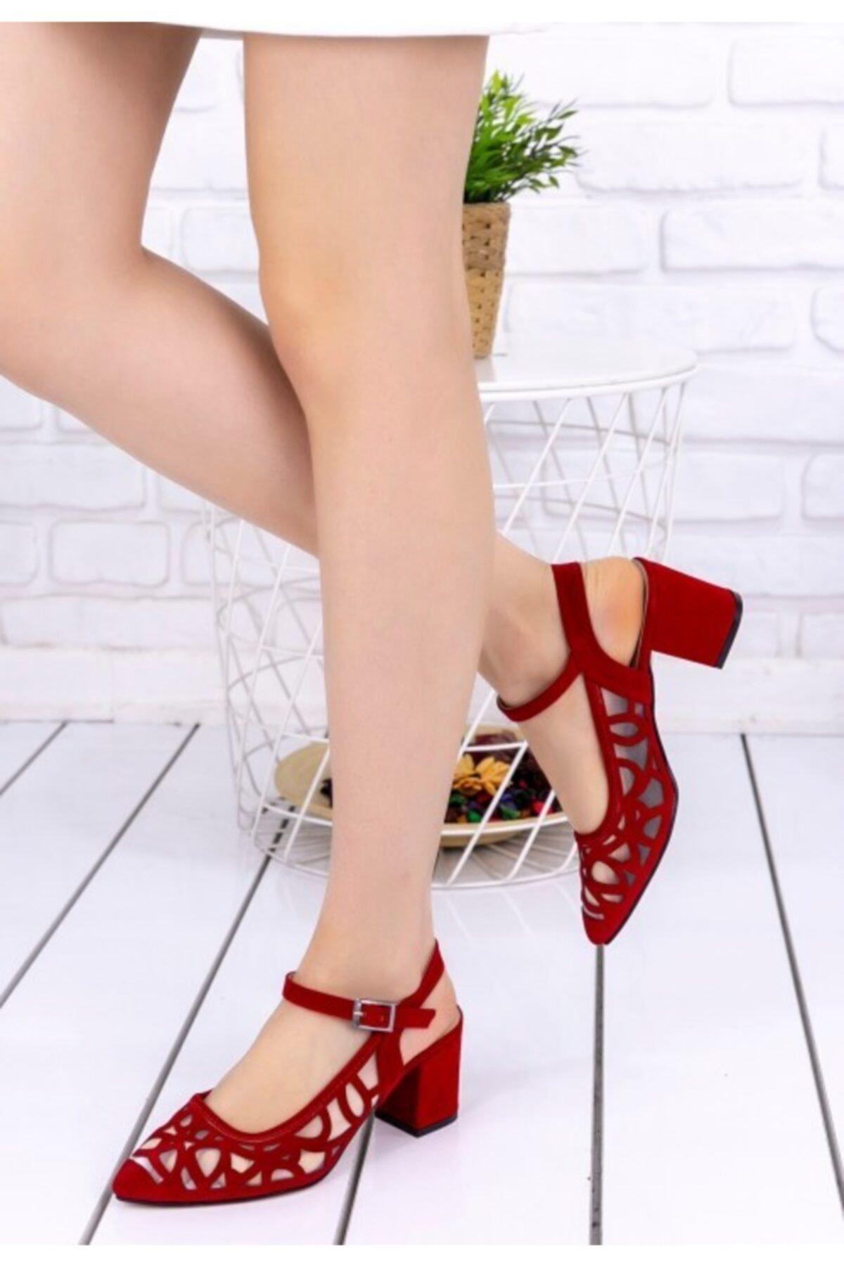 Vetti Vens Kadın Kırmızı Süet Topuklu Ayakkabı 1