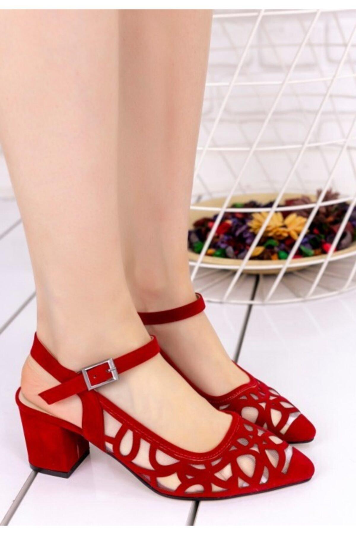 Vetti Vens Kadın Kırmızı Süet Topuklu Ayakkabı 2