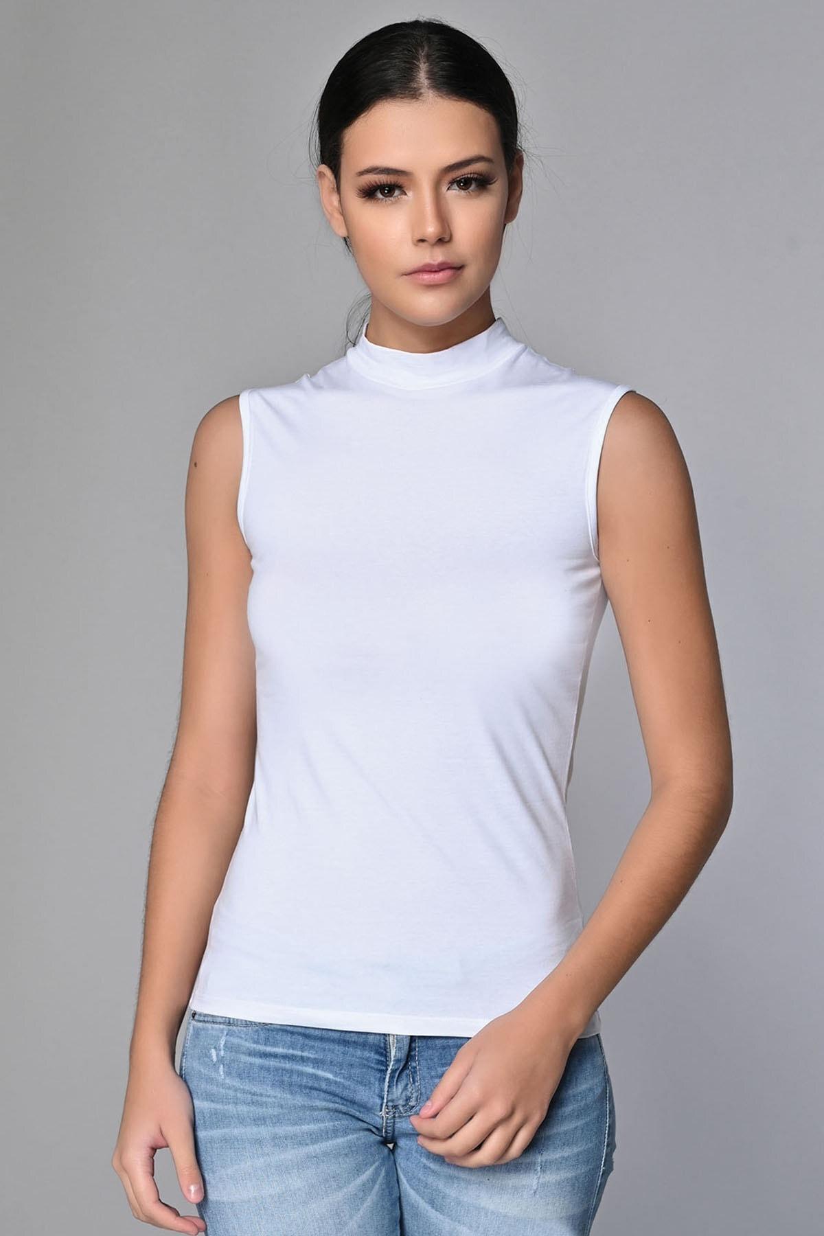 Sevim Kadın Beyaz Cotton Balıkçı Yaka Bluz 1