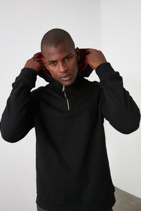 TRENDYOL MAN Siyah Erkek Kapüşonlu Yarım Fermuarlı Sweatshirt TMNAW20SW0507