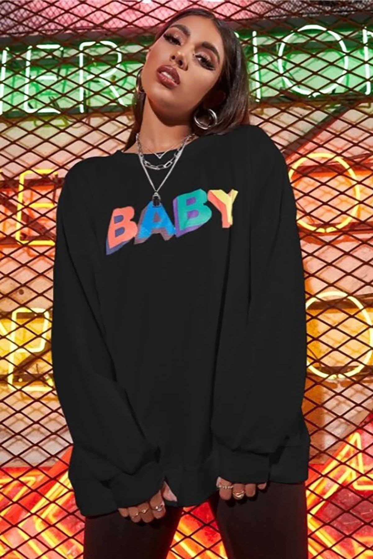 Madmext Mad Girls Siyah Baby Baskılı Sweatshirt MG791 2