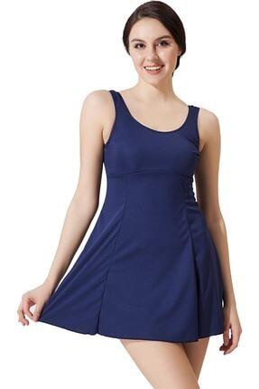 Argisa Kadın Lacivert Düz Elbiseli Mayo