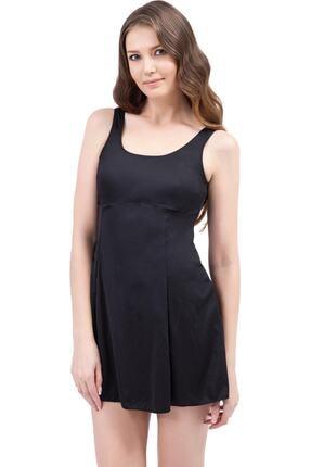 Argisa Kadın Siyah Düz Elbiseli Mayo