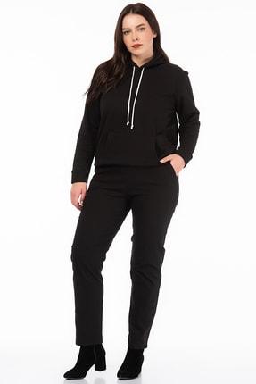 Şans Kadın Siyah Likralı Bengalin Kumaş  Bel Kısmı Lastik Detaylı Cepli Pantolon 65N18450