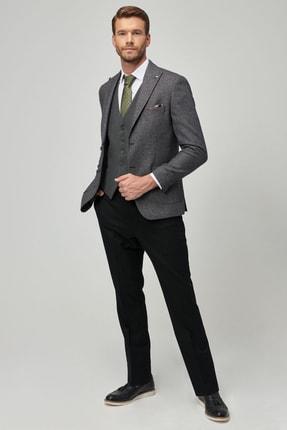 ALTINYILDIZ CLASSICS Erkek Siyah-Gri Slim Fit Kombinli Yelekli Yünlü Takım Elbise