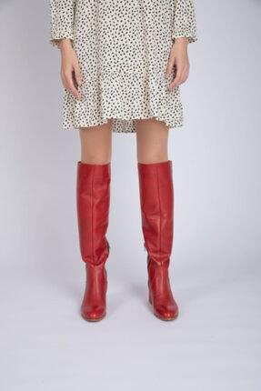 Masish Kadın Kırmızı Topuklu Hakiki Deri Çizme