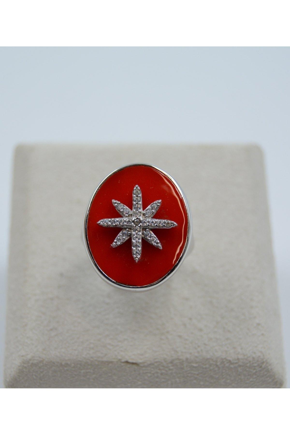 Swarovski Kutup Yıldızı Desenli Zirkon Taşlı 925 Ayar Gümüş Kadın Yüzük 1