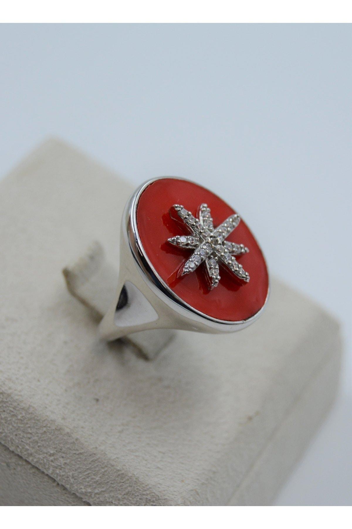 Swarovski Kutup Yıldızı Desenli Zirkon Taşlı 925 Ayar Gümüş Kadın Yüzük 2