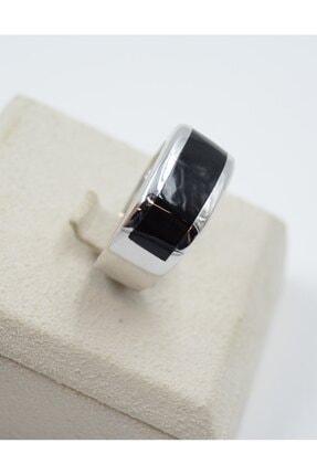 Swarovski Siyah Şeritli 925 Ayar Gümüş Erkek Yüzük