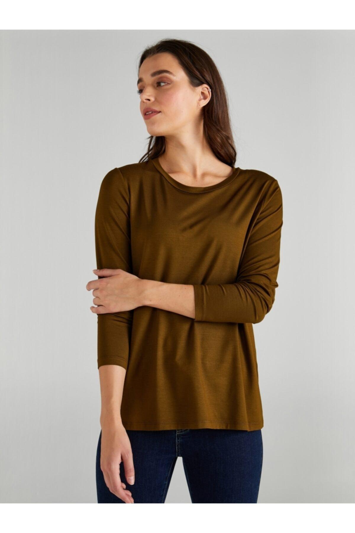 Faik Sönmez Kadın Haki Yuvarlak Yaka Uzun Kol T-shirt 61024 1