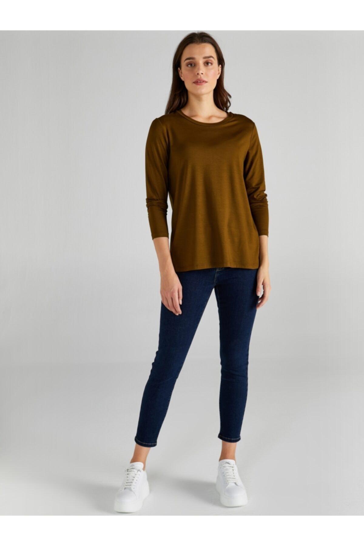 Faik Sönmez Kadın Haki Yuvarlak Yaka Uzun Kol T-shirt 61024 2
