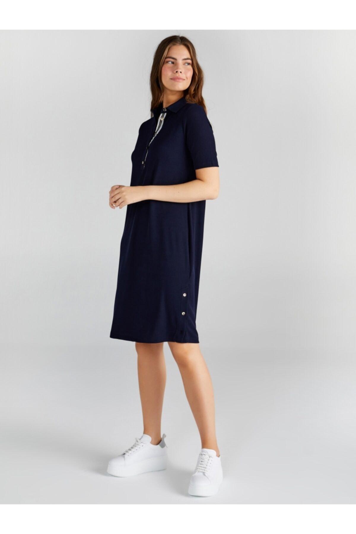 Faik Sönmez Kadın Lacivert Polo Yakalı Şerit Detaylı Elbise 61257 2
