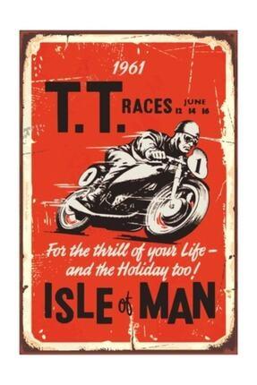Hayat Poster Motor Yarışı Retro Vintage Ahşap Poster