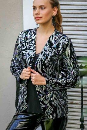 Chiccy Kadın Siyah Vintage Gümüş Yapraklar Desenli Cepken Ceket