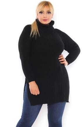 ANGELINO Kadın Siyah Yırtmaç Detay Akrilik Boğazlı Bol Büyük Beden Kazak T111899