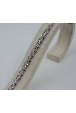 Swarovski Kadın Beyaz Zirkon Taşlı Altıgen Şekilli 925 Ayar Gümüş Bileklik