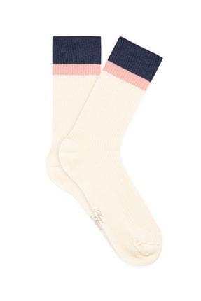 Mavi Bileği Renkli Beyaz Soket Çorap