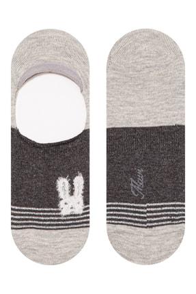 Mavi Tavşan Işlemeli Babet Çorabı