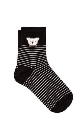 Mavi Koala Işlemeli Siyah Soket Çorap