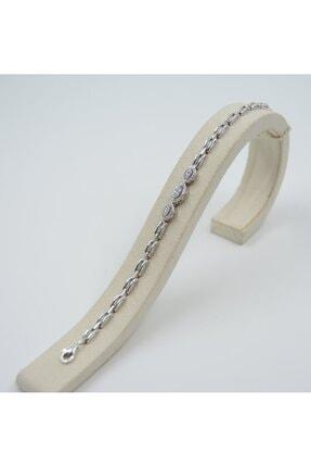 Swarovski Kadın Beyaz Zirkon Taşlı Damla Desen 925 Ayar Gümüş Bileklik