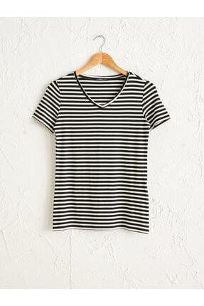 LC Waikiki Kadın Siyah Çizgili T-Shirt