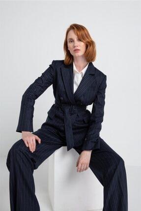 rue. Kadın Lurex Çizğili Asimetrik Lacivert Ceket
