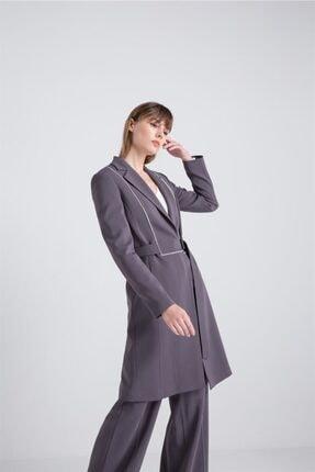rue. Kadın Gri Kontrast Biyeli Uzun Ceket