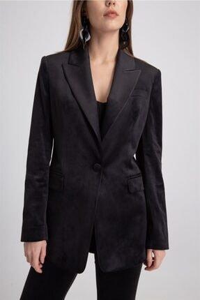 rue. Kadın Siyah Renk Tek Düğme Kadife Ceket